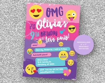 Emoji Invitation, Emoji Party, Emoji Birthday Party, Girls Teen Invitation, Emoji Invites, Girl Birthday Invitation.