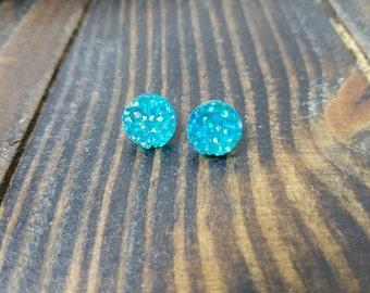 Turquoise Aqua Faux Druzy Stud Earrings - 12mm