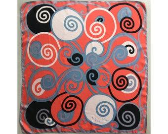VTG RICHARD ALLAN Silk Scarf Swirls Spirals 1960s - Good Vintage Condition !