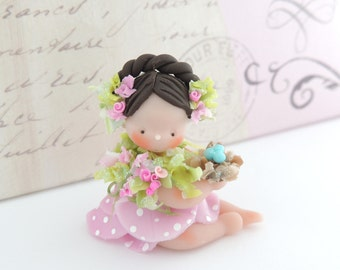 Spring Petal Doll with wee little Birds Nest Miniature Whimsical
