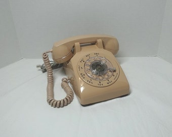 1983 Vintage Rotary Dial Telephone, Beige, by ITT, Non-Removable Cords, Vintage Dial Phone, Vintage Technology, 1983 Home Decor Telephone
