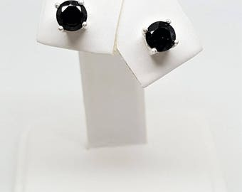 1.55ctw Round Black Spinel Sterling Silver Stud Earrings