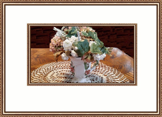 Tiny Peach and White Flower Arrangement In a Beautiful Formal Roses Tea Cup