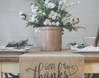 Give Thanks Burlap Table Runner, Table Runner, Thanksgiving Table Runner* Free Shipping*