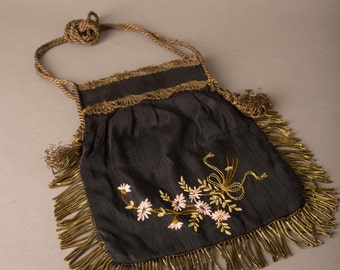 1900s Black Silk Purse with Floral Embroidery and Gold Fringe