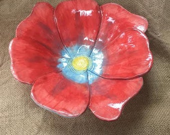 Red Ceramic/Pottery Flower Bowl