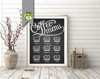 Coffee sign, printable, kitchen art, cafe art, coffee menu, dinning room, kitchen printable, espresso, cappuccino, flat white, chalkboard