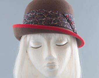 Brown Wool Felt Cloche Hat. Ladies' Derby / Bowler Hat with Upcycled Silk Paisley Tie, Red Ribbon. Hand Blocked Millinery. One of a Kind Hat