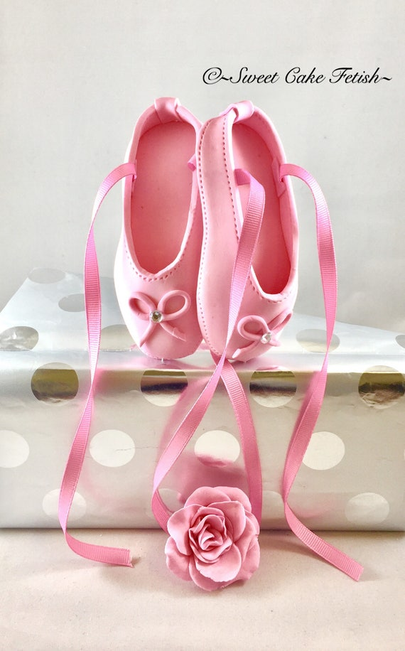 Ballerina cake topper pink ballet shoes cake topper for Ballet shoes decoration