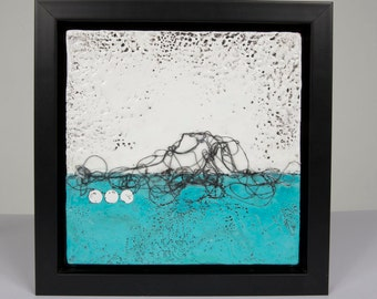 "Original Teal Abstract Landscape Painting // ""Lost at Sea 2"""