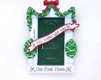 FREE SHIPPING Green Door Personalized Christmas Ornament / Green Door Ornament / Housewarming Gift / New Home / Bless This Irish House