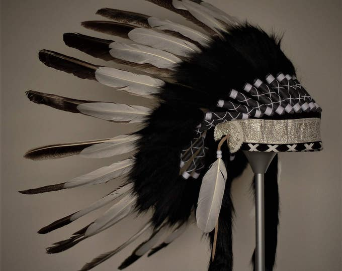 X40 -  Indian Style Feather Headdress / warbonnet double feather (30 inch / 75 cm)