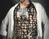 Bird's Nest Mesh Latex Vest in Black or ANY Colour