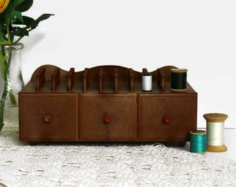 Vintage Sewing Box with Storage Drawer, Thread Spool Holder for Spools of Thread