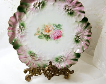Antique RS Prussia Plate circa, 1880-1917, Embossed Floral Rim in Pink and Green with Hand Painted Rose Center