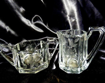 Etched Floral Clear Glass Open Sugar Bowl and High Handled Cream Pitcher
