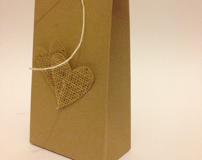90 Handmade Large Gift Bag, Made to order, Wedding Favour, Hessian/ burlap Heart, Flat packed