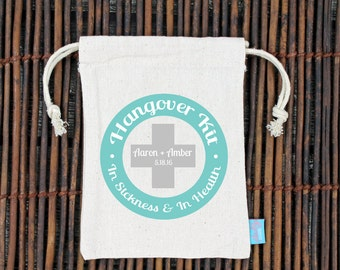 Hangover Kit In Sickness and in Health Wedding Welcome Bag -Heavy Weight Cotton Canvas Double Drawstring Mini Favor Bags