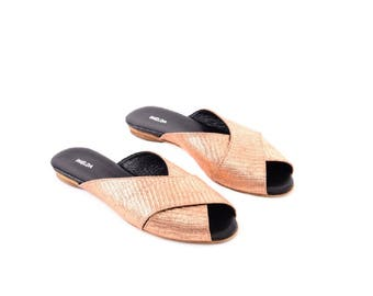 Bronze Sandals, Leather Sandals, Texure Leather Sandals, Women Summer Shoes, Leather Flats