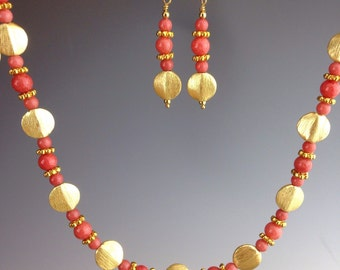 """Peach Jade Necklace ~ 3 piece set ~ peach and gold jewelry ~ Gold beaded jewelry ~ unique jewelry ~ Mother's Day gift ~ """"Peach Julip"""""""