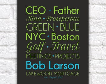 Gift for Boss, CEO, Custom Pairings of your choice - Unique, Personalized Gift for Employee, Co-worker, Bosses Day, Mortgage | WF547
