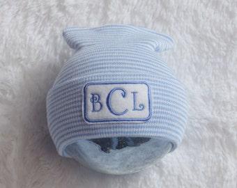 Newborn Boy Hospital Hat. Newborn Hospital Beanie. Personalized Monogram Hat. Newborn Boy Coming Home