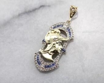 Unique Roman, Diamond and Synthetic Sapphire Pendant C1P2XL-D