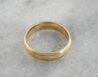 Vintage Gold Wedding Band, Men's Wedding Band, Yellow Gold Wedding Ring, Plain Wedding Ring QNJ8C1-R