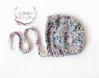 Newborn Knit Girls Bonnet Photography Prop - Newborn Knit Bonnet Photo Prop - Knit Bonnet for Newborn Girls - Girls Newborn Bonnet - RTS