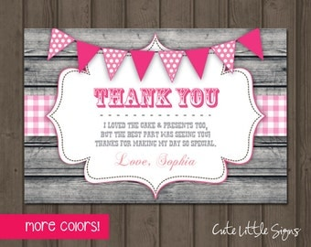 Country Wood Birthday Thank You Card Digital Download