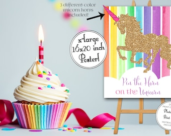 INSTANT DOWNLOAD - Pin the Horn on the Unicorn - Unicorn Party Game - Rainbow Unicorn Poster - Unicorn Party - Rainbow Birthday 0220