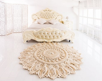 """Big crochet rug, round area rug (70 in), doily rug, yarn lace mat, cottage nursery carpet, rustic floor decor by LaceMats """"LaceAster"""""""