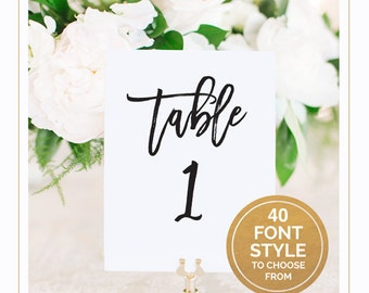 Wedding Table Number Sign, Custom Table Number Sign, Calligraphy Wedding Table Number Template Printable, PDF Download [T15]