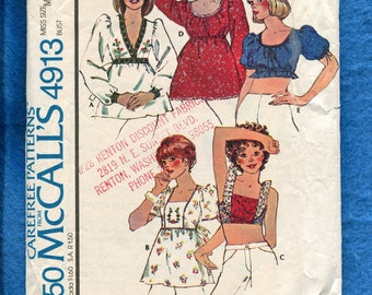 1970's McCall's 4913 Retro Country Chic Tops Pattern Size Medium 14/16