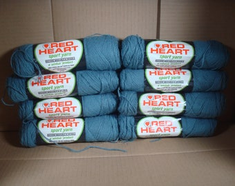 Red Heart Sport Yarn Wintuk Vintage Product - 8 Skeins 410 Grey