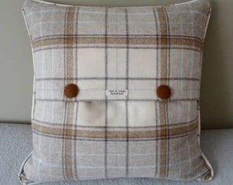 Shetland Wool Cushion Cover Natural and Blue Plaid