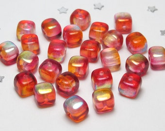 Cube Square Bead Two-Tone Red and Orange AB - Czech Glass Aurora Borealis AB 5mm x 5mm - 25 beads - Sunset, Fire, Burnt Orange