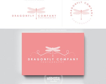 Dragonfly logo-  -  Premade Photography Logo and Watermark, Classic Elegant Script Font GOLD GLITTER butterfly children Calligraphy Logo