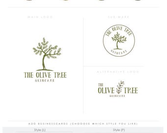 Olive Tree Logo - Premade Photography Logo and Watermark, Classic Elegant Script Font branding pack businesscards children Calligraphy Logo