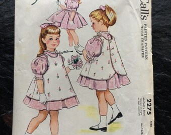 Vintage 1950s Girls', Child's Dress and Pinafore Pattern // McCall's 2275, size 2 > full skirt > 1958 > Designed by Helen Lee
