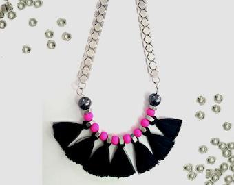 Black tassel necklace, neon pink necklace, statement tassels necklace, silver plated necklace, tribal boho necklace, black fringe necklace.