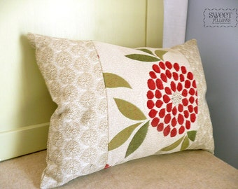 Red Flower and Beige Lumbar Pillow, 13x19, red flower, lumbar pillow, accent pillow, lumbar throw pillow, lumbar throw