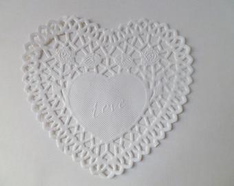 "4"" Heart Paper Lace Doily- White (10pk)"