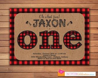 Lumberjack First Birthday Invitation - Buffalo Plaid - Red - Kraft - Wood - Ax - Boy - Choose Digital or Printed w/Envelopes