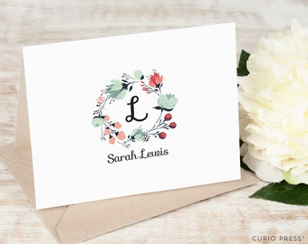 Personalized Notecard Set / Folded Personalized Monogram Cards / Stationery / Preppy Script Navy Blue Red Stationary // GARNER FLORALS II