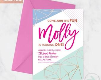 Geometric Rose Gold Foil Party Invitation