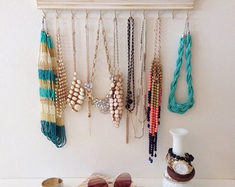 Jewelry Hanger Oganizer / Accessory Organization / White Distressed / Wall hanging Hooks