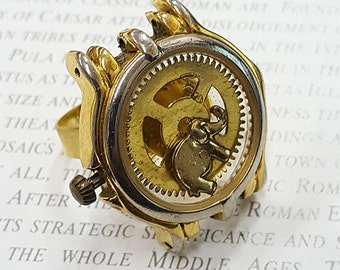 Steampunk Elephant Ring- -Watch Part Rings- Vintage Elephants Jewelry Gift for Steampunk Loving Friend
