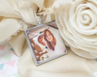 Custom Photo Bouquet Charm - Photo Bouquet Charm - Bridal Bouquet Charm - Wedding Photo Charm - Silver Bouquet Charm - 25 mm / 1 in Square
