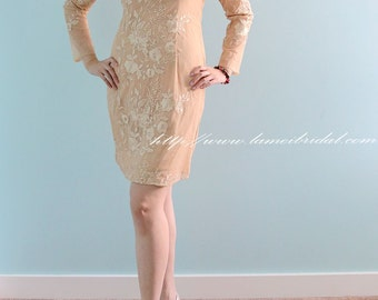 Short Knee Length Champagne Cream Lace Wedding Party Prom Dress with Long Sleeves